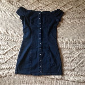 Forever 21 off the shoulder button up denim dress